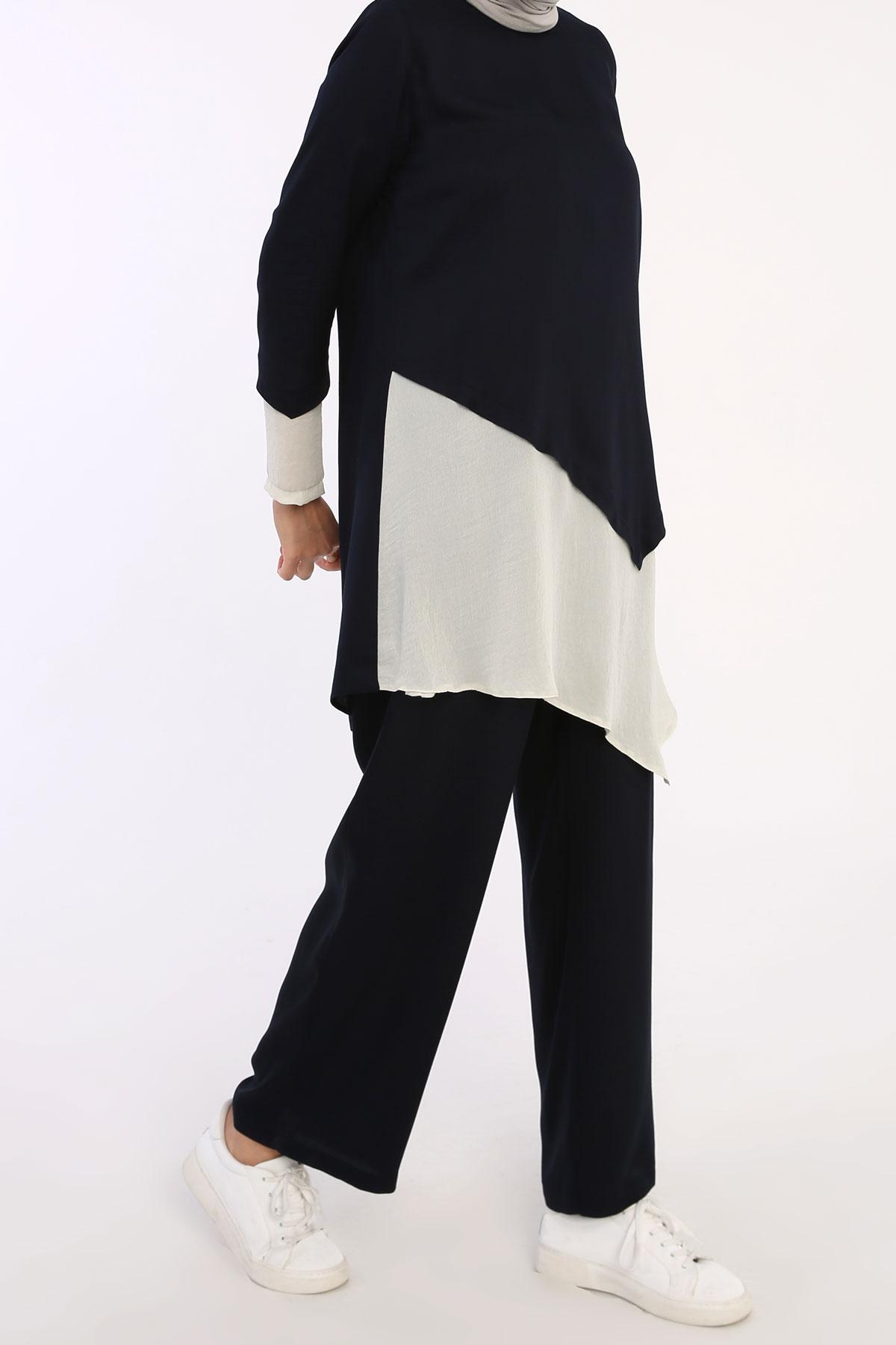 Women's Asymmetric Cut Navy Blue Viscose Tunic & Pants Set