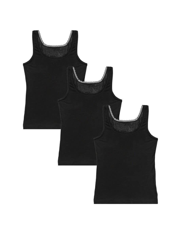 Women's Lace Detail Black Viscose Camisole- 3 Pieces