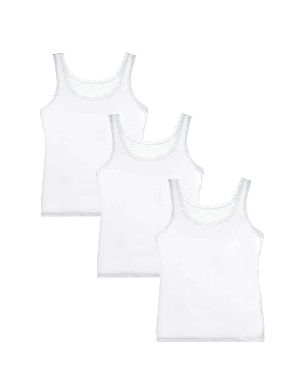 Women's Lace Detail White Viscose Camisole- 3 Pieces