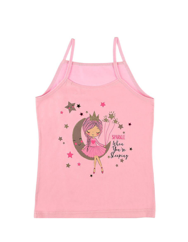 Girl's Printed Pink Sleeveless Undershirt