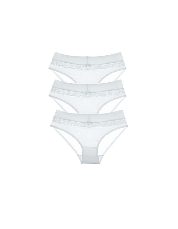 Girl's Wide Elastic White Panties- 3 Pieces