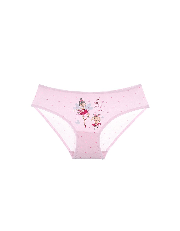 Girl's Ballerina Print Pink Panty
