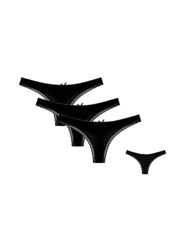 تانغا فسكوز أسود موحد اللون نسائي- 3 قطع