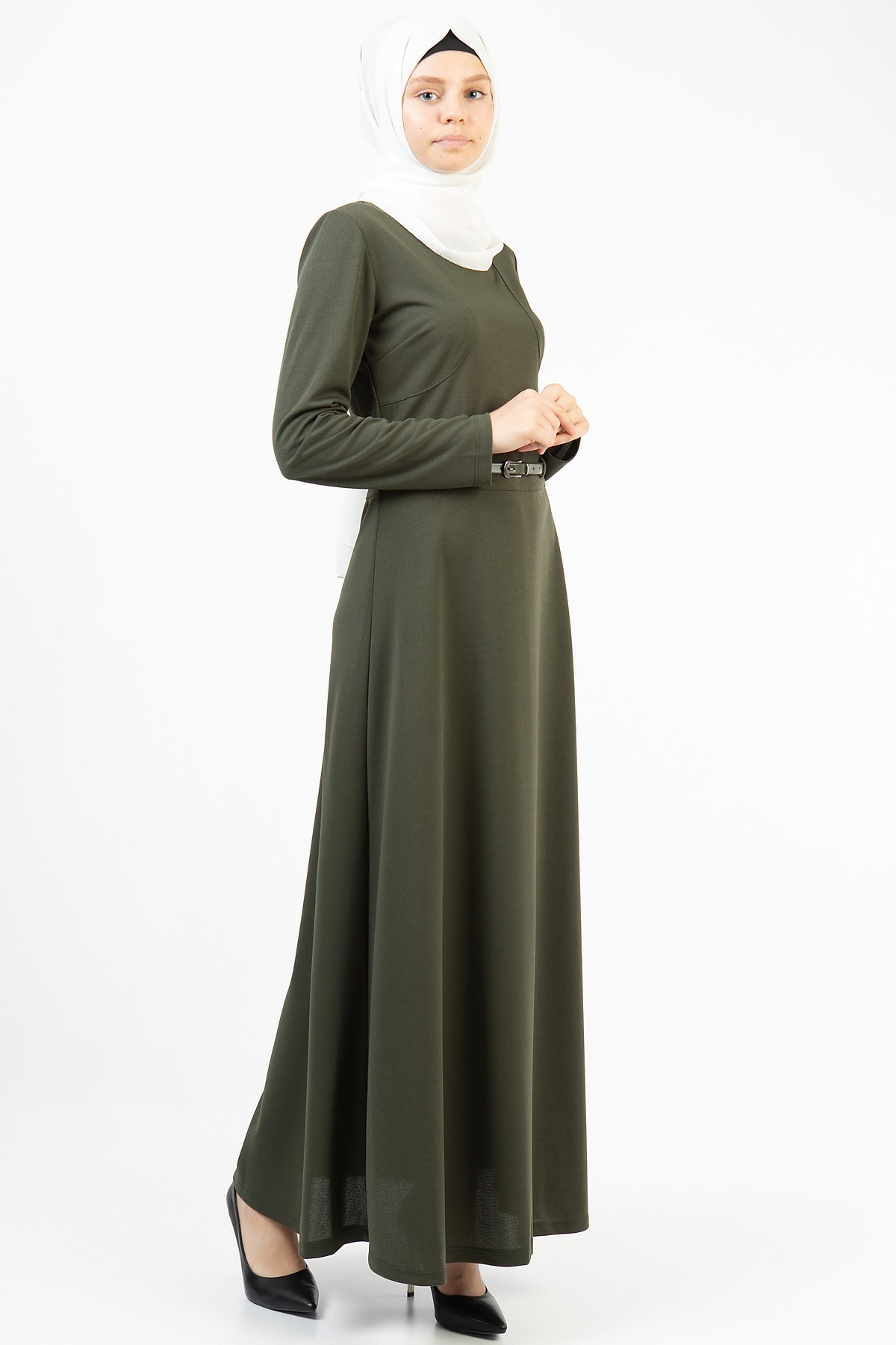 Women's Belted Long Dress