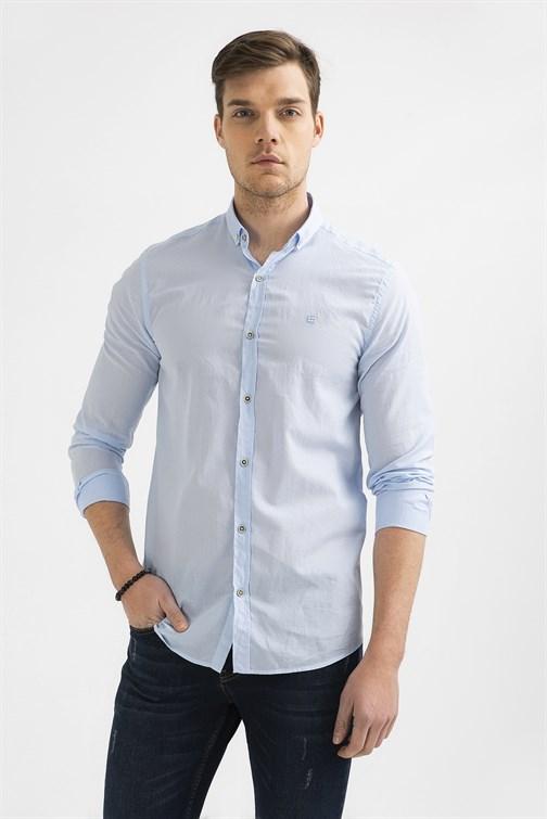 Men's Button Collar Plain Voile Slim Fit Shirt