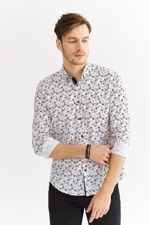 Men's Floral Print Slim Fit Shirt