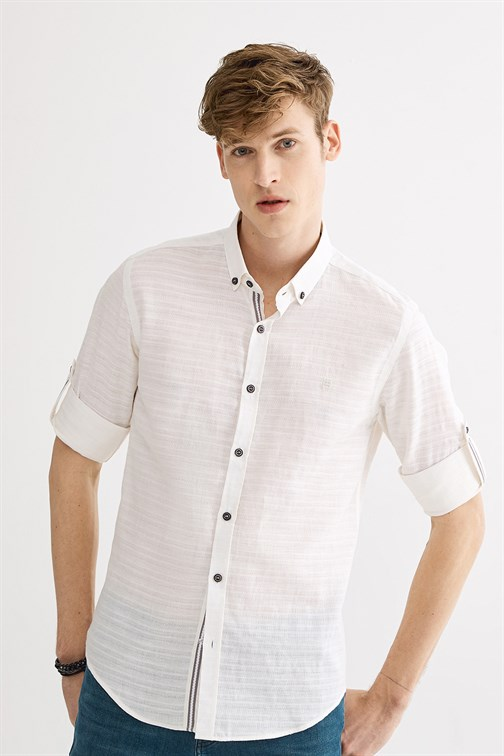Men's Button Collar Jacquard Slim Fit Shirt