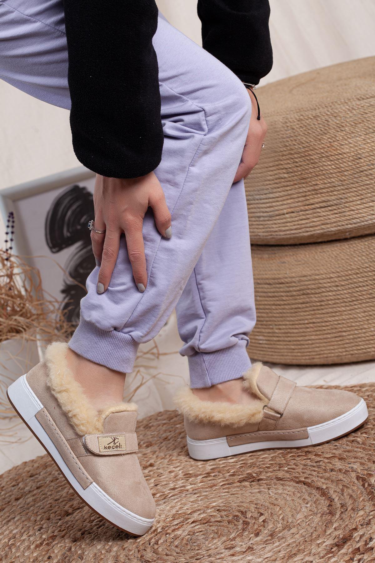 Women's Tan Suede Sport Shoes