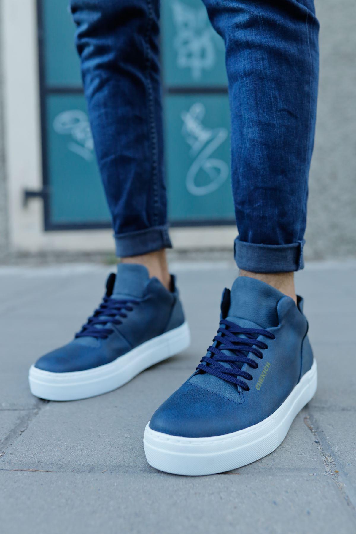 Men's Lace-up Navy Blue Shoes