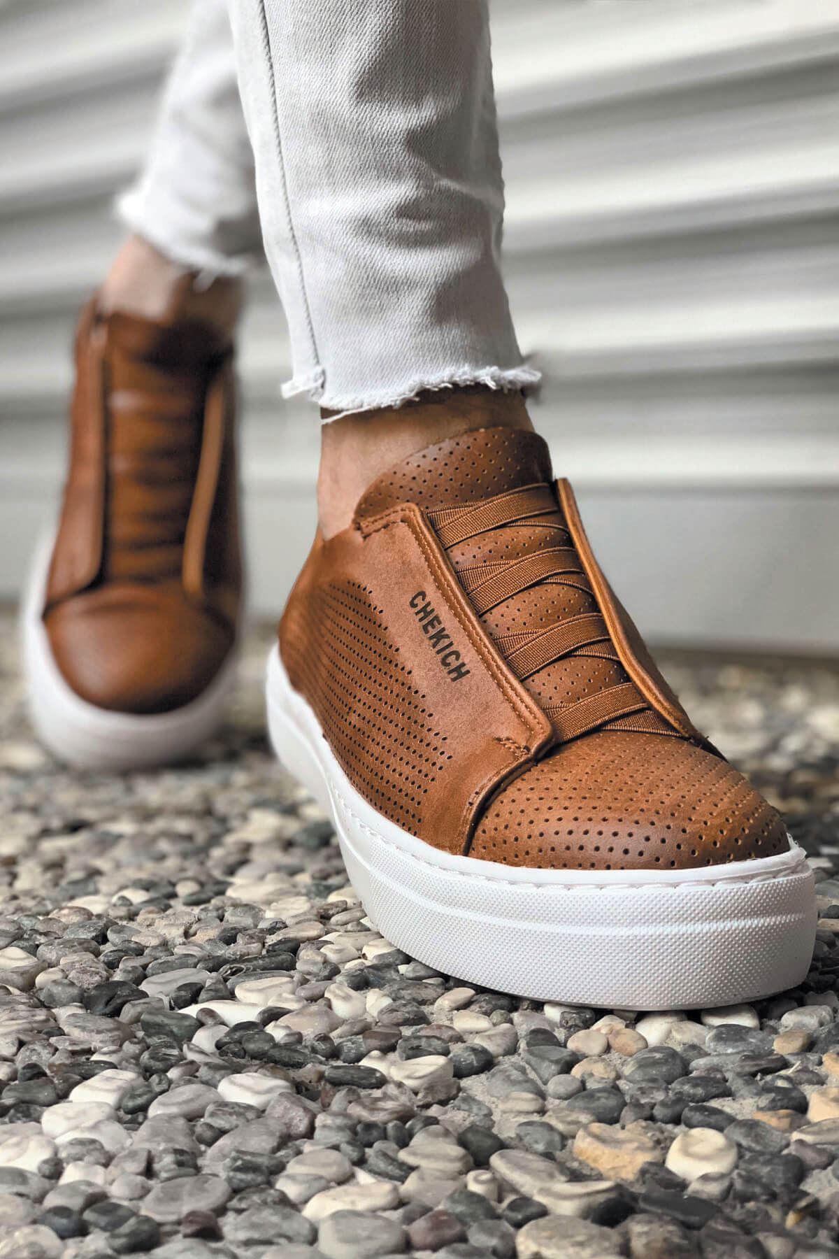 حذاء كاجوال بني فاتح رجالي