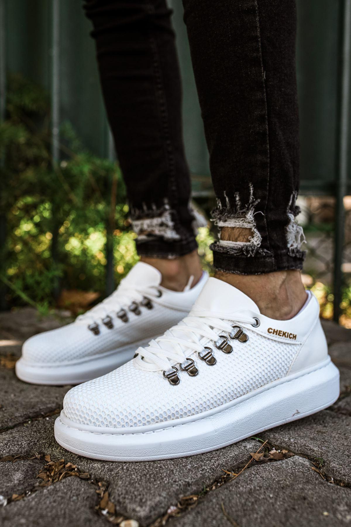 Men's Lace-up White Shoes