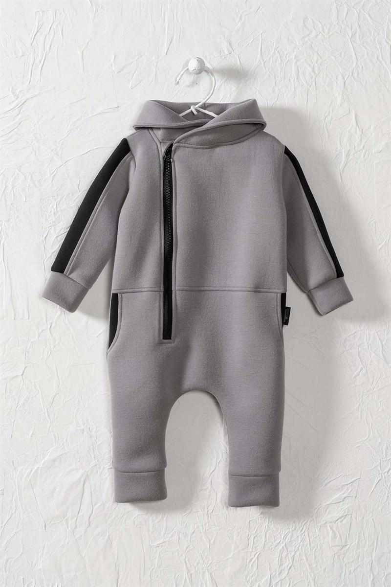 Unisex Kid's Zipped Pocket Scuba Fabric Romper