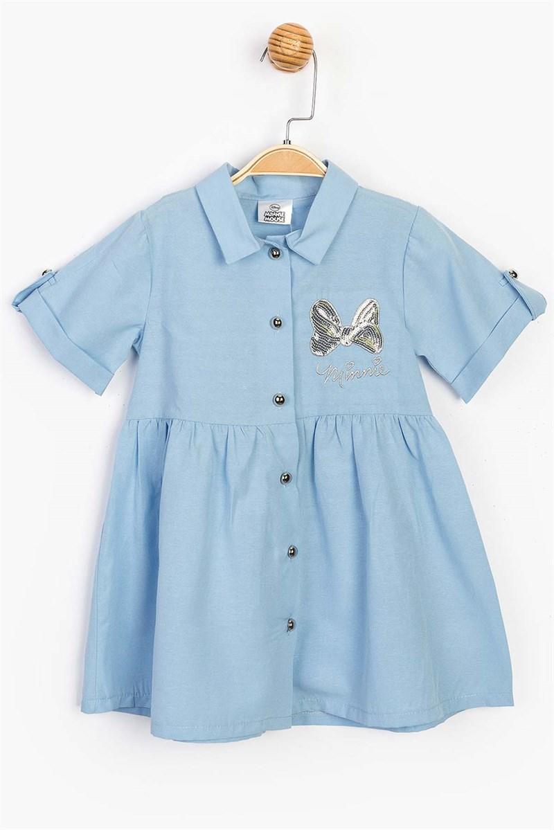 فستان أزرق بأزرار وطبعة ميكي ماوس بناتي