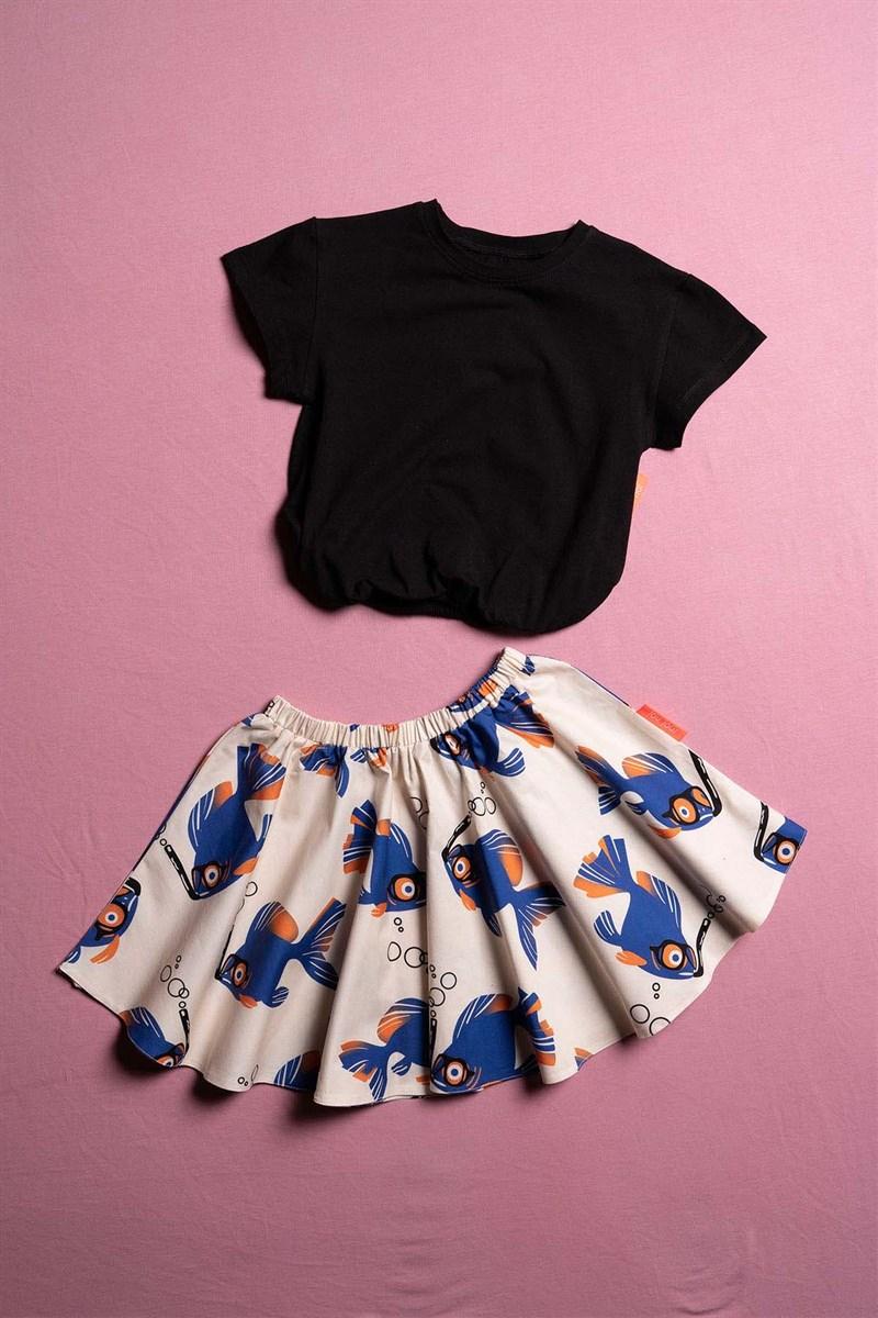طقم ملابس بطيات بناتي - 2 قطعة