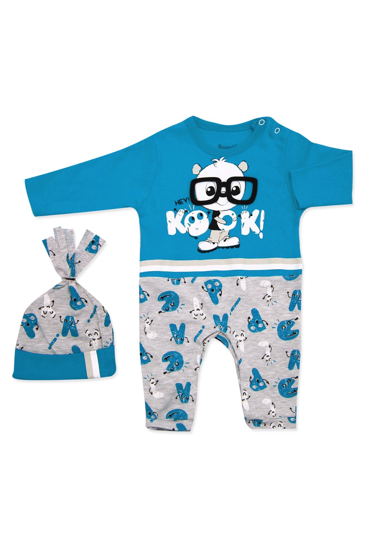 Baby's Printed Blue- Grey Romper & Beanie Set