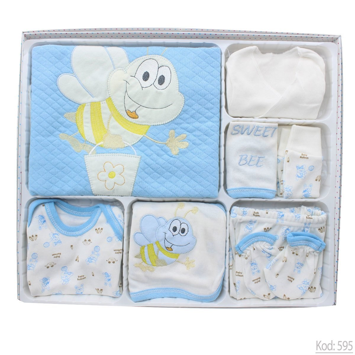 New Born Baby's Bee Print Blue 10 Pieces Outfit Set