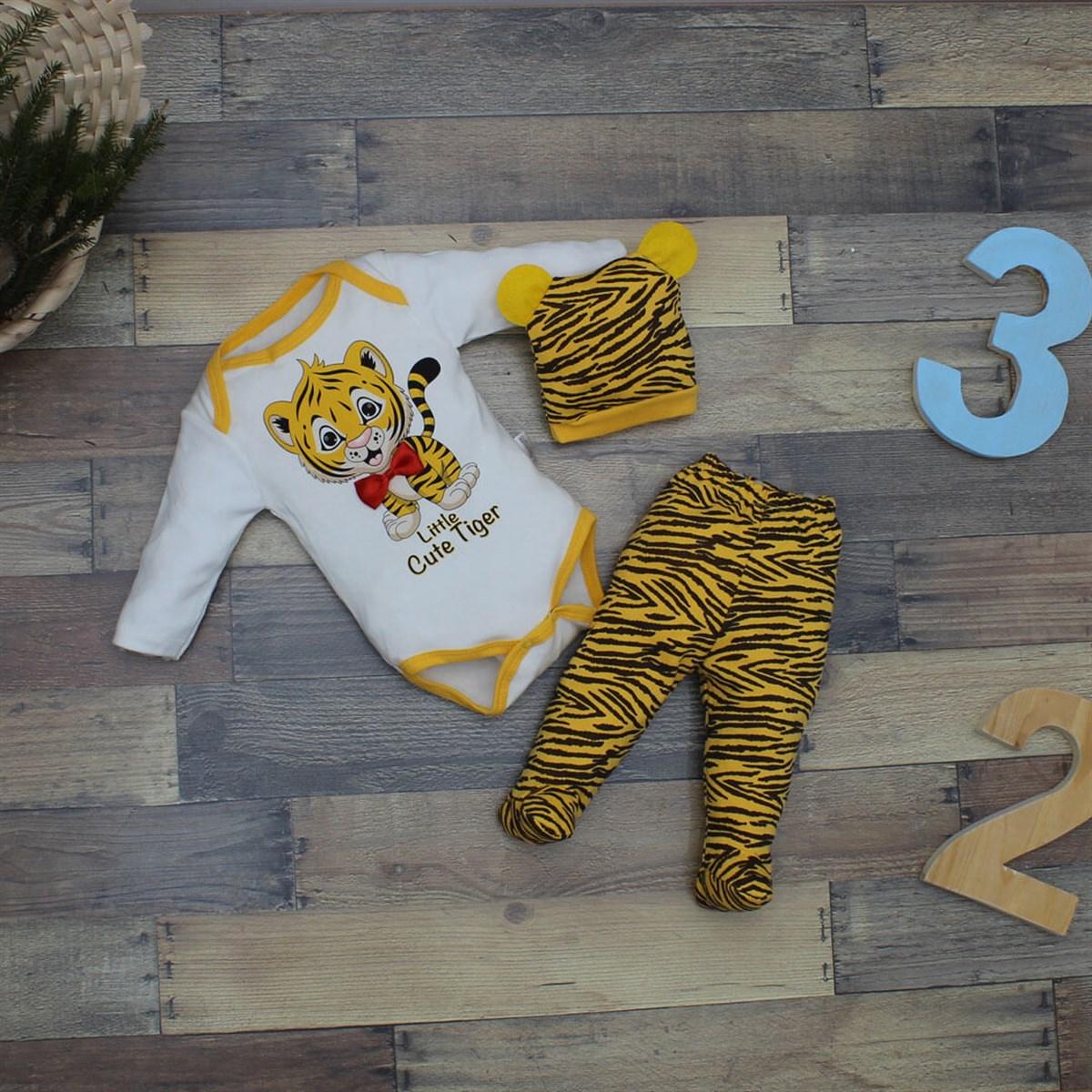 طقم ملابس بطبعة نمر رضع أطفالي- 3 قطع