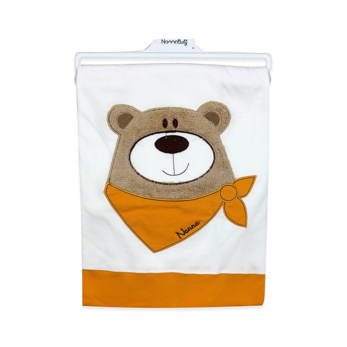 بطانية بيضاء برتقالي بتصميم دب رضع أطفالي