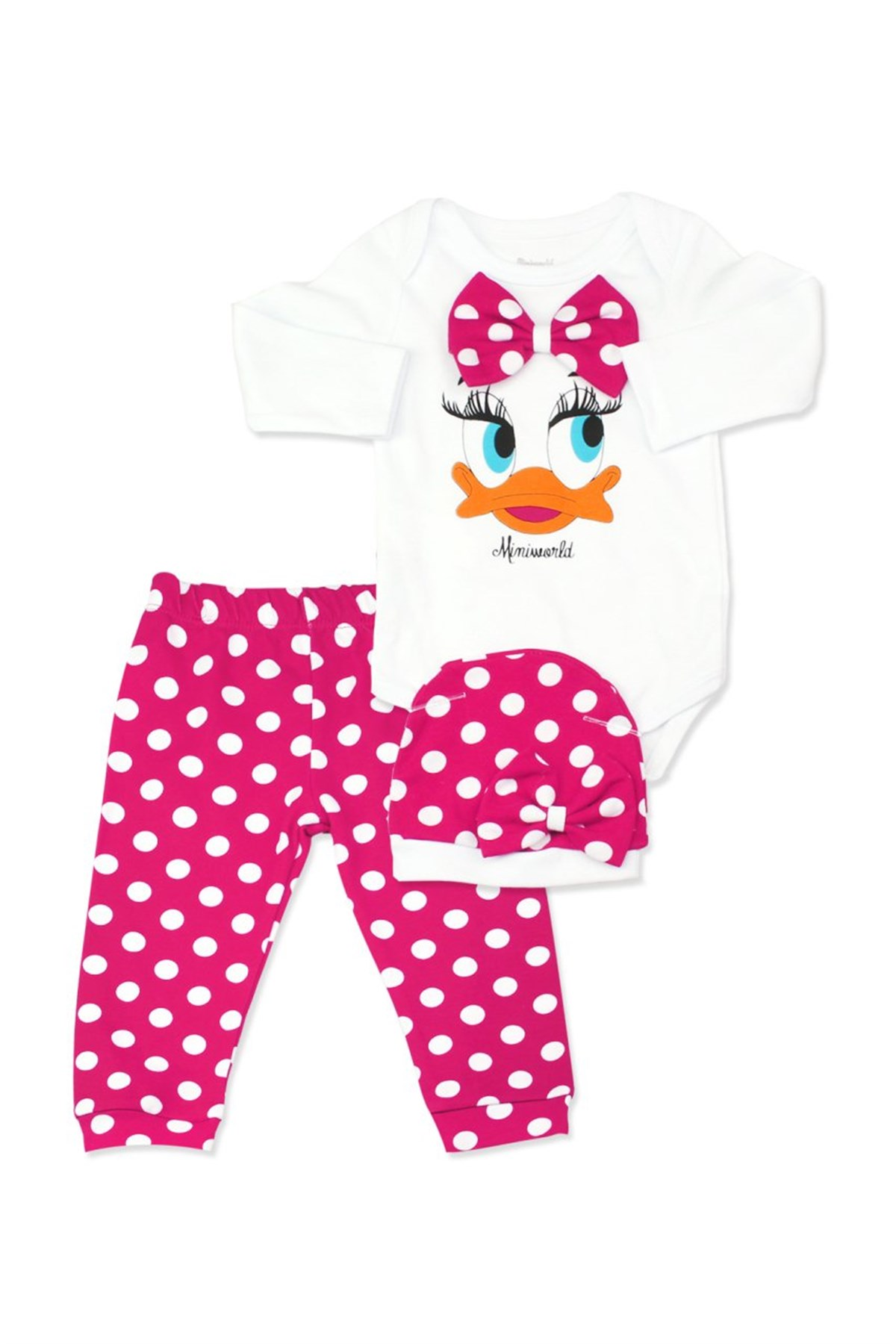 Baby Girl's Dotted Pink White 3 Pieces Outfit Set