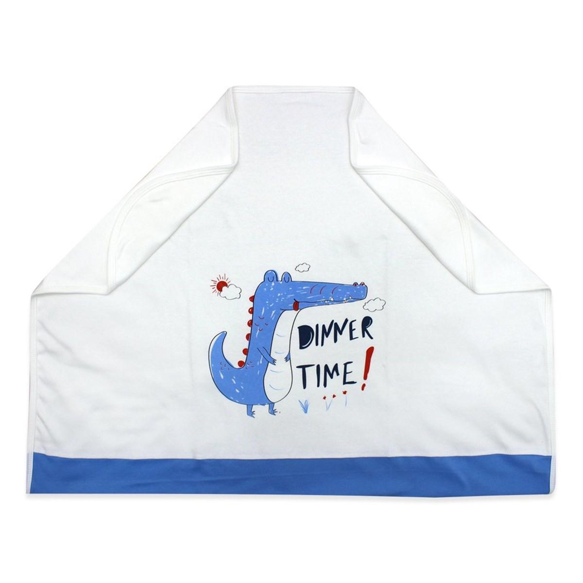 بطانية بيضاء بطبعة ستايل تمساح أزرق أطفالي