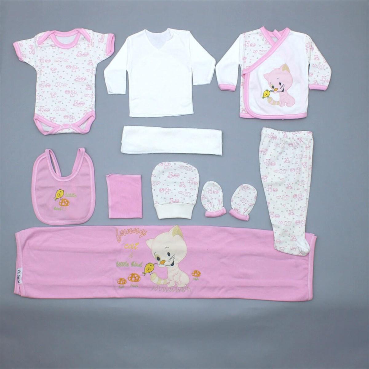 طقم ملابس بتصميم قطة رضع حديثي الولادة- 10 قطع
