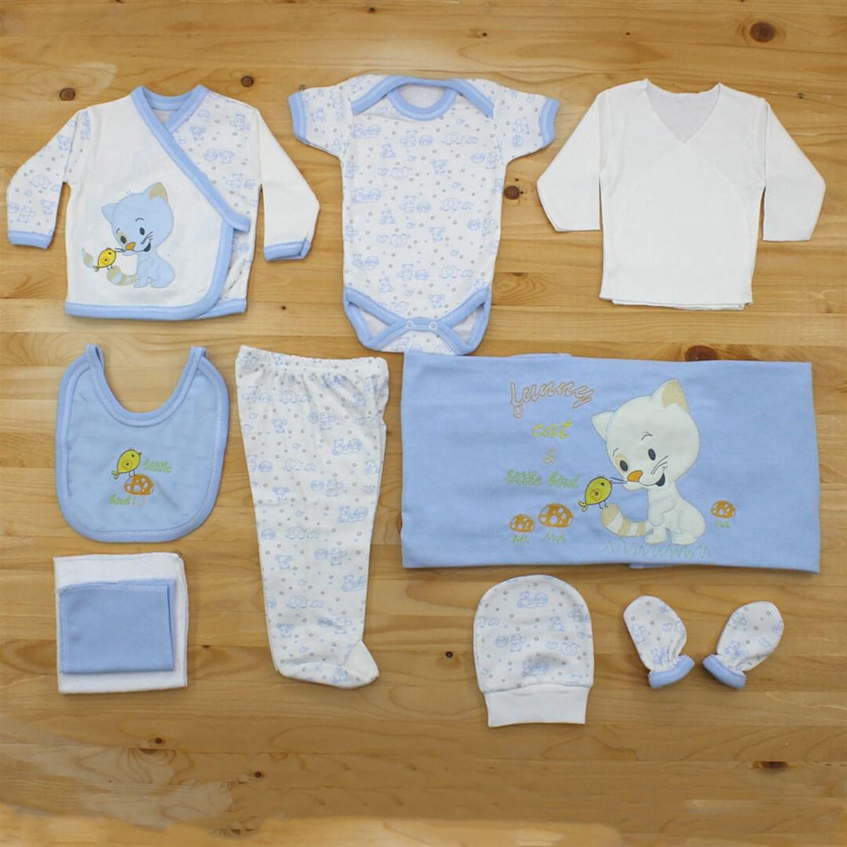 طقم ملابس أبيض أزرق فاتح رضع حديثي الولادة- 10 قطع