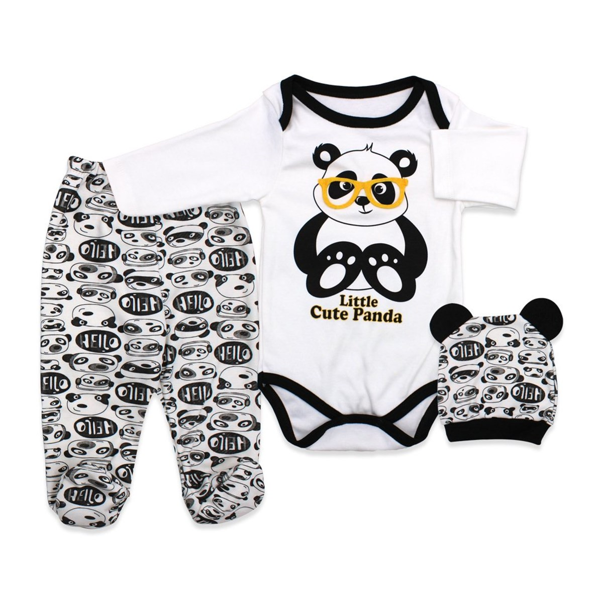 Baby's Printed White Romper Set