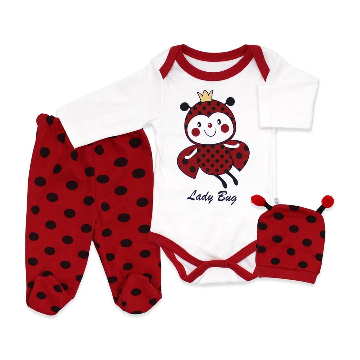 Baby's Ladybug Design White Red Romper Set