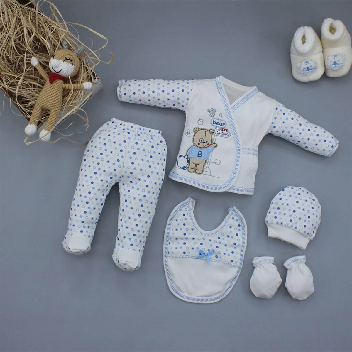 طقم ملابس بطبعة رضع حديثي الولادة- 5 قطع