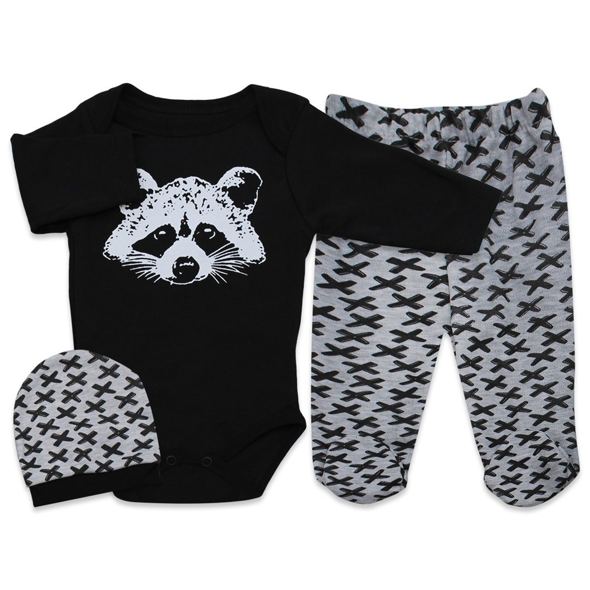Baby Boy's Printed Black 3 Pieces Outfit Set