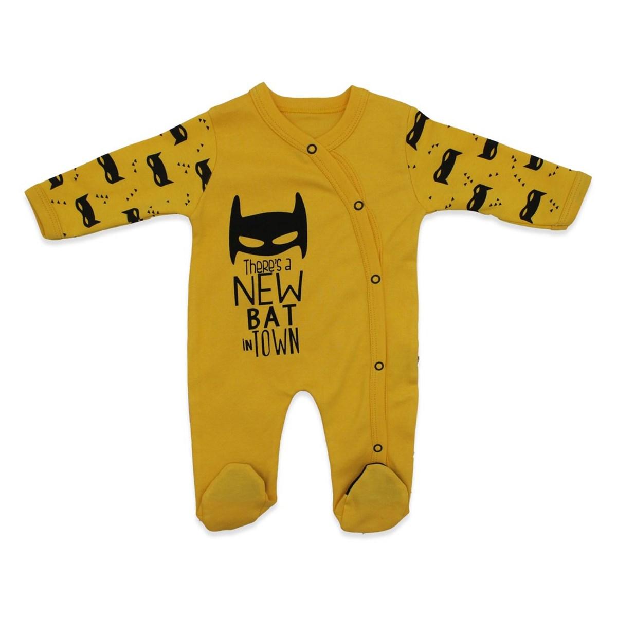 Baby's Printed Yellow Romper & Beanie Set
