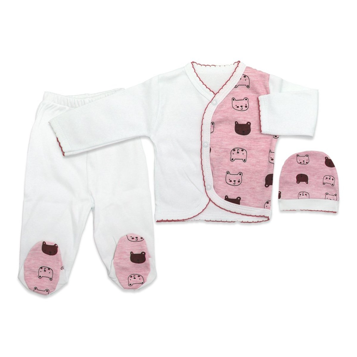 New Born Baby's Printed White Pink Snap Crotch Bodysuit Set- 3 Pieces