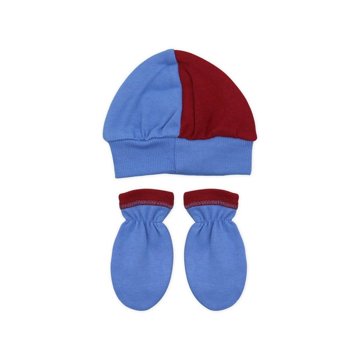 Baby's Trabzonspor Design Navy Blue Claret Red Beanie & Gloves Set