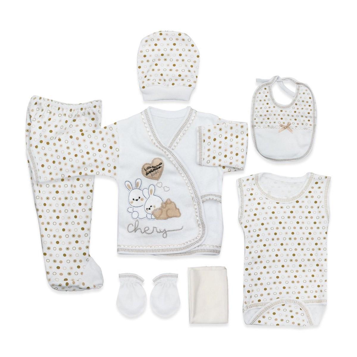 طقم ملابس منقط رضع حديثي الولادة- 8 قطع
