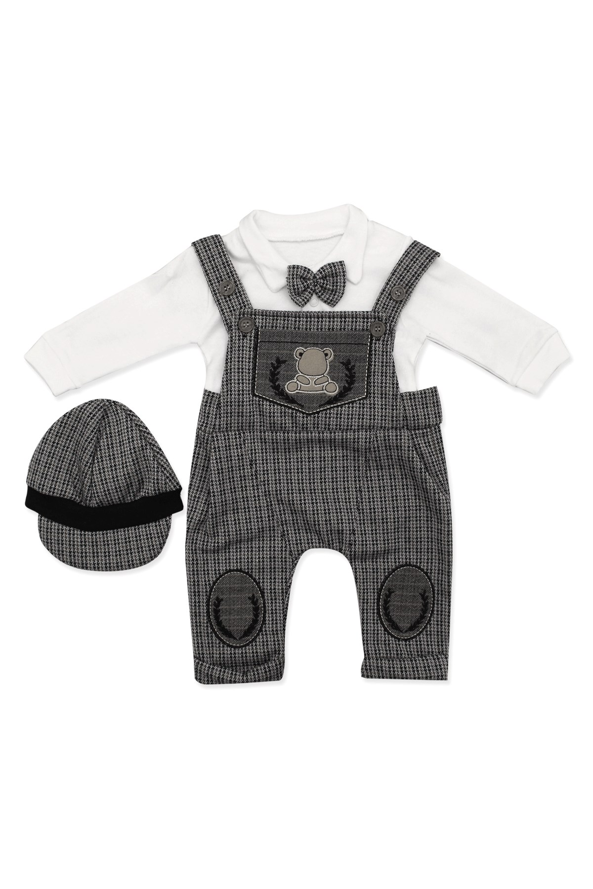 Baby Boy's Strappy Brown 3 Pieces Outfit Set