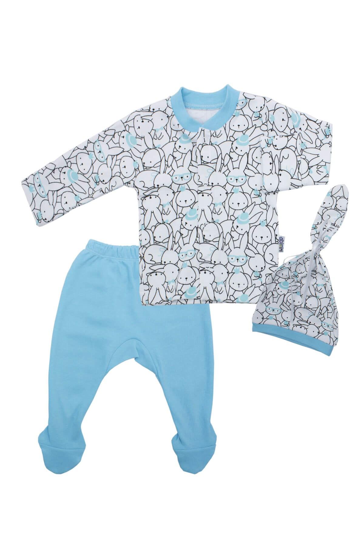طقم ملابس أزرق بطبعة أرنب رضع- 3 قطع