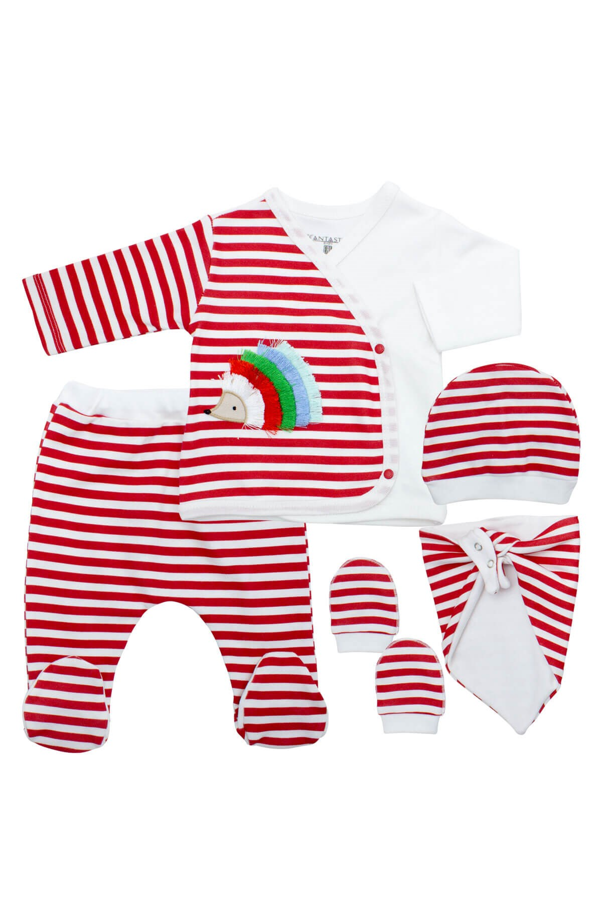 New Born Baby's Striped Red 5 Piece Outfit Set