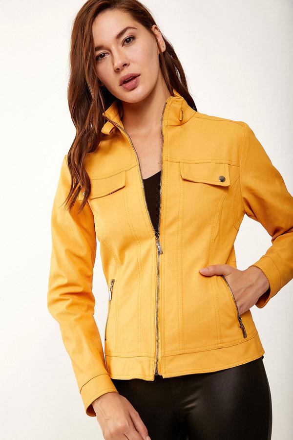 معطف جلد صناعي أصفر غامق بياقة مستقيمة نسائي