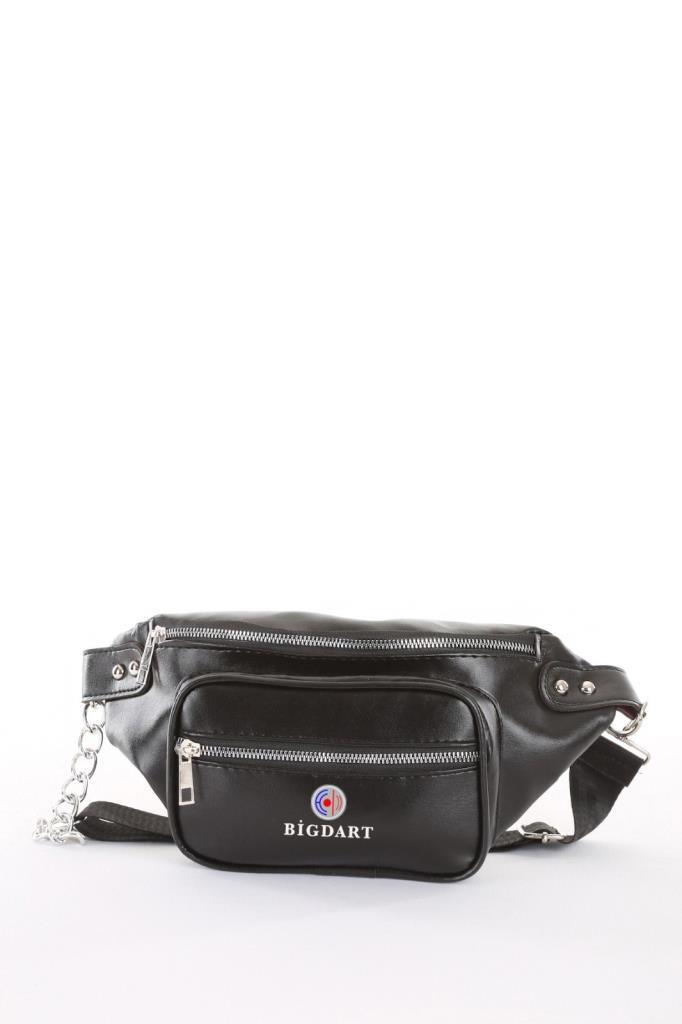 Women's Double Zipped Black Waist Bag
