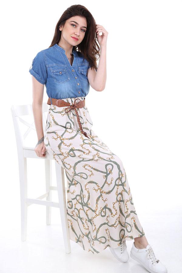 Women's Denim Top Patterned Dress