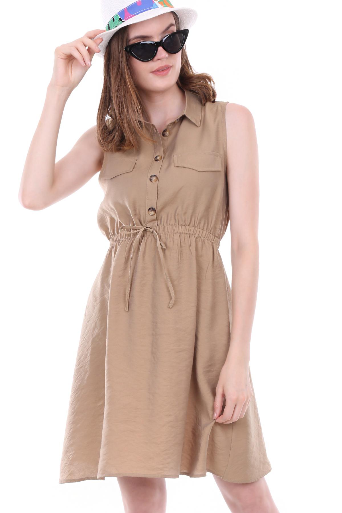 Women's Elastic Waist Sleeveless Dress