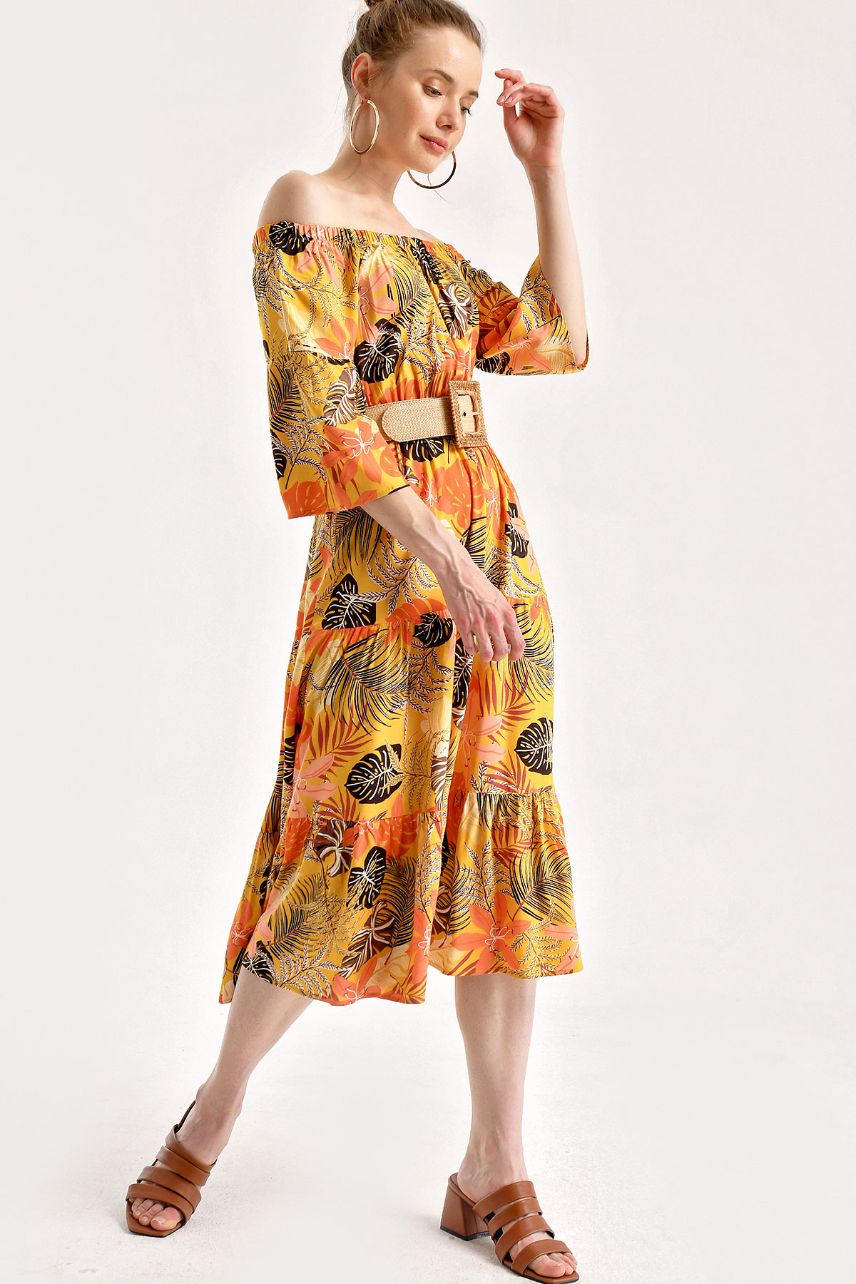 Women's Elastic Neckline Patterned Mustard Midi Dress