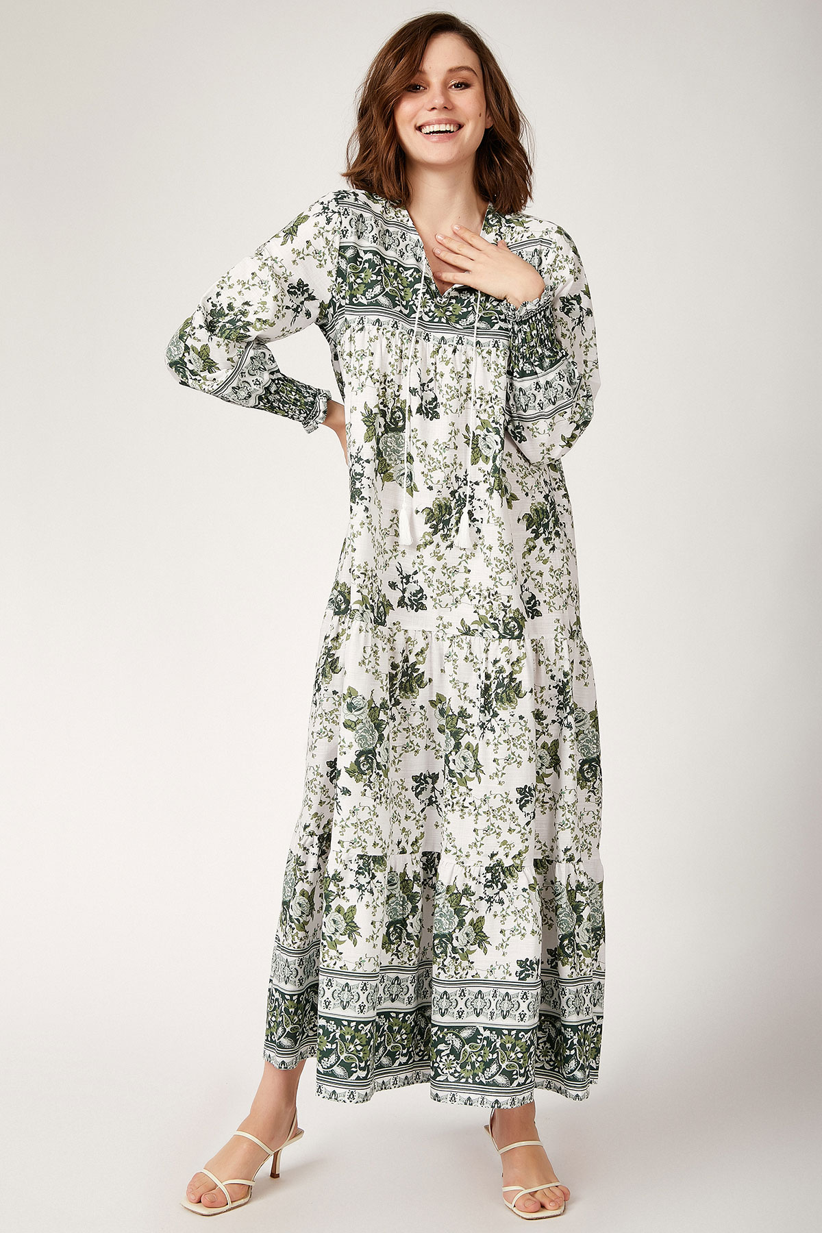 Women's Shirred Sleeves Floral Pattern Linen Midi Dress