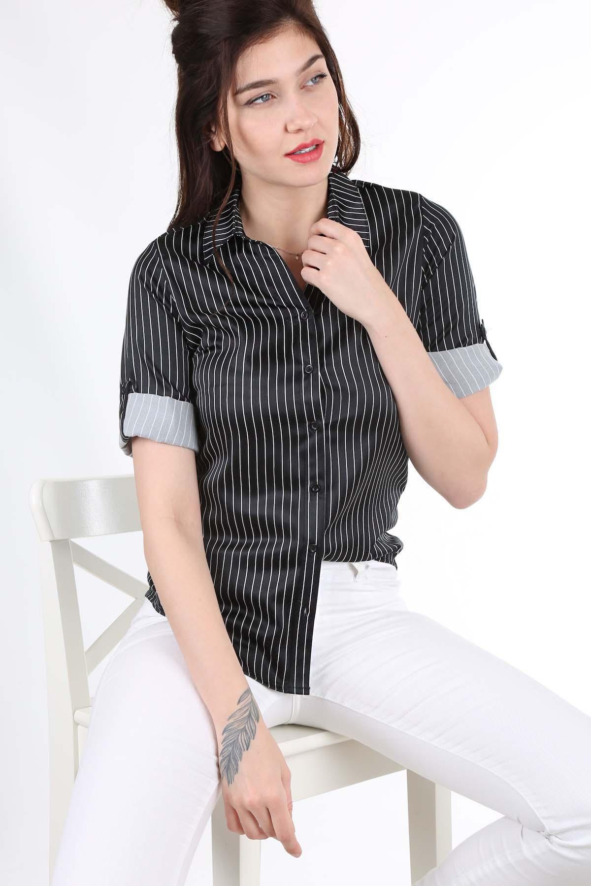 قميص ستان مخطط نسائي