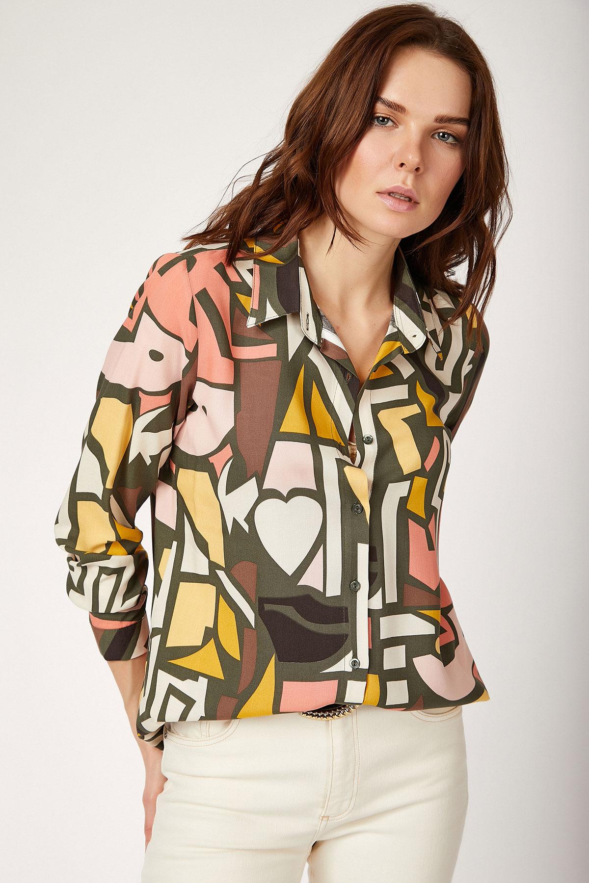 Women's Graphic Pattern Viscose Shirt