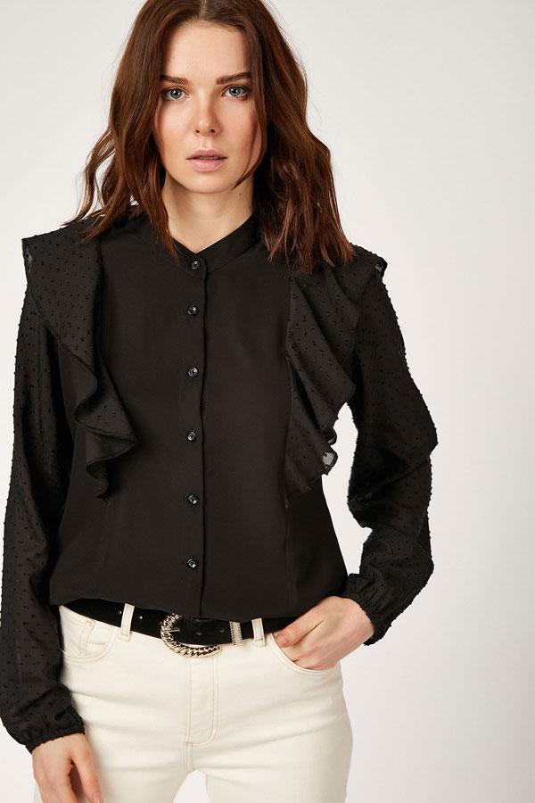 Women's Frill Detail Black Shirt
