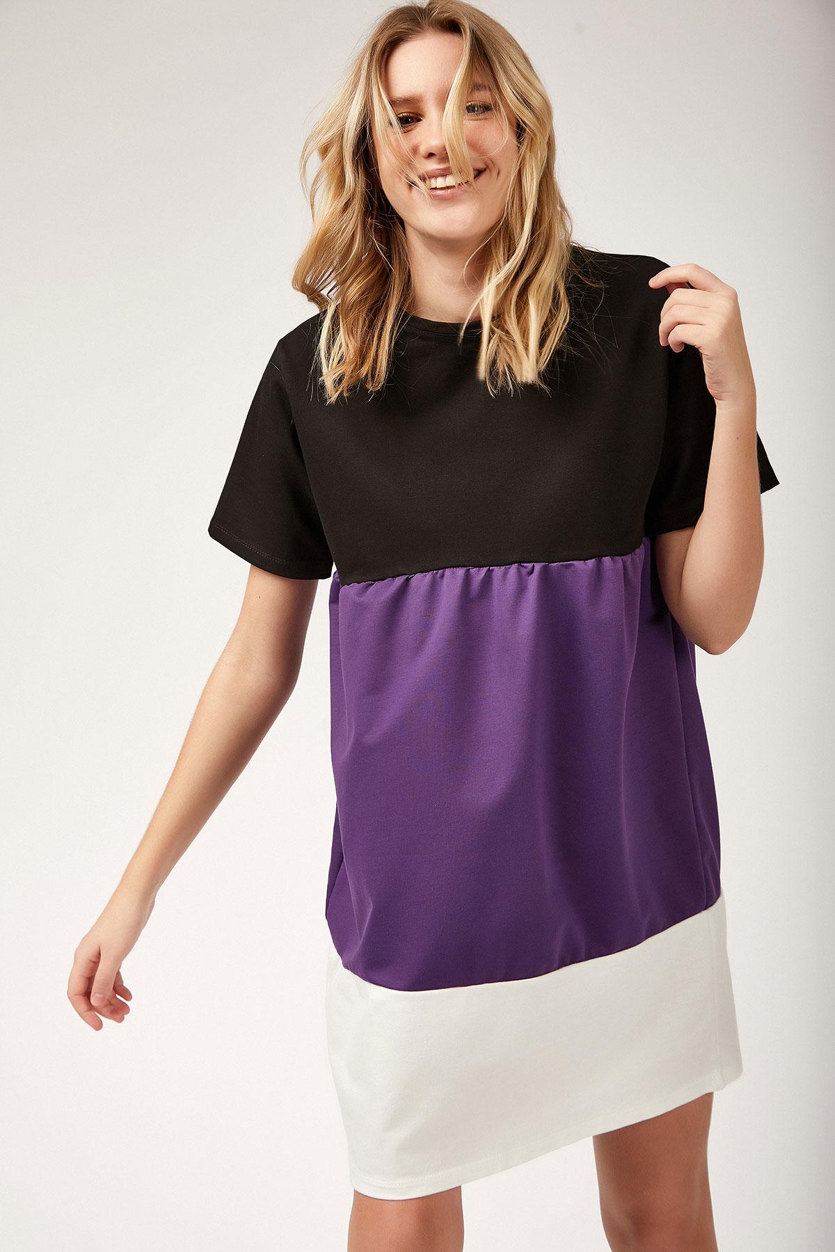 Women's Shirred Color Block Tunic