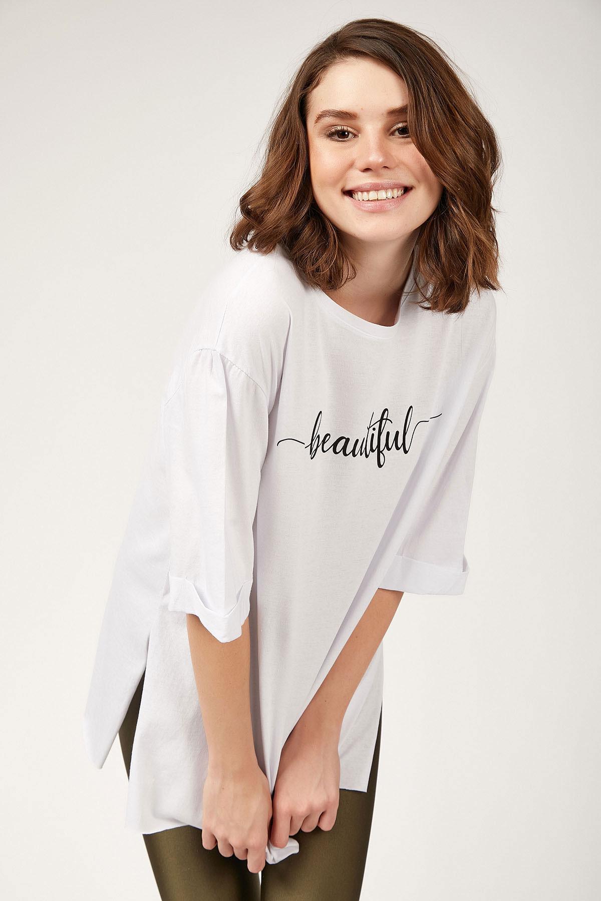 Women's Text Print White T-shirt