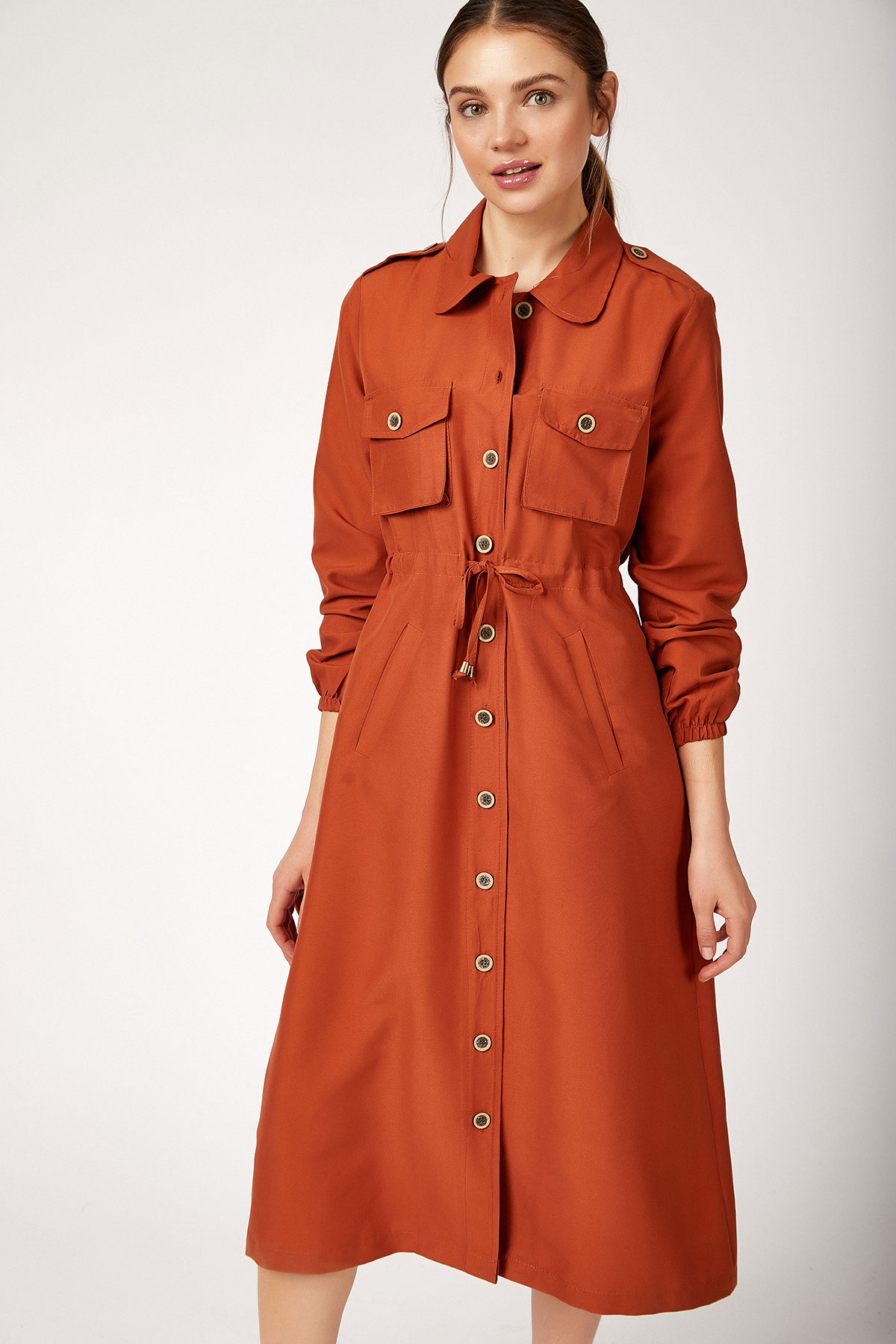 Button Front Modest Trenchcoat