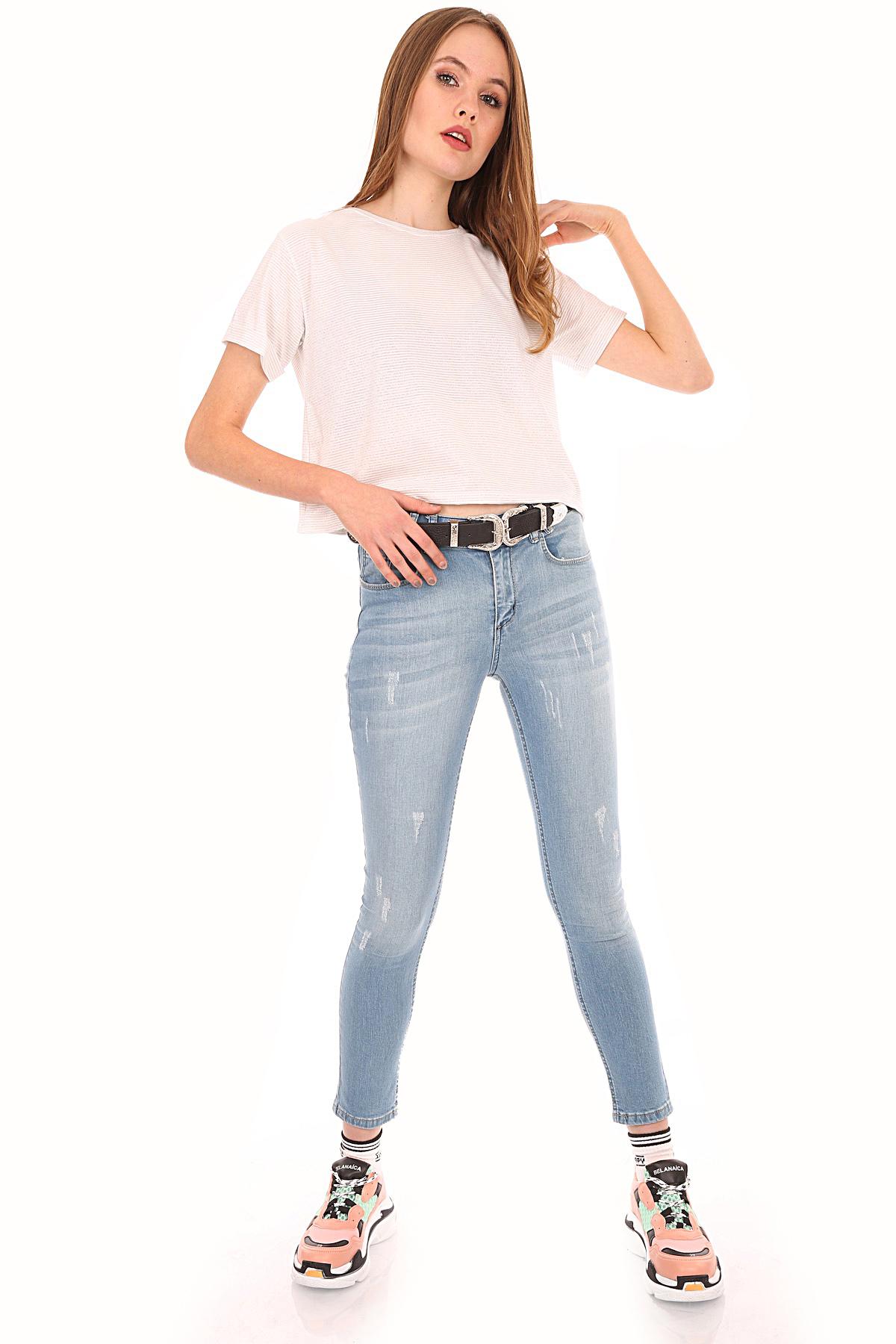 Women's Pocket Light Blue Jeans